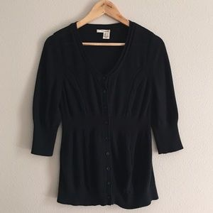 dkny jeans | black button fitted cardigan size lg